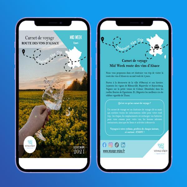 Carnet de voyage route vins alsace smartphone