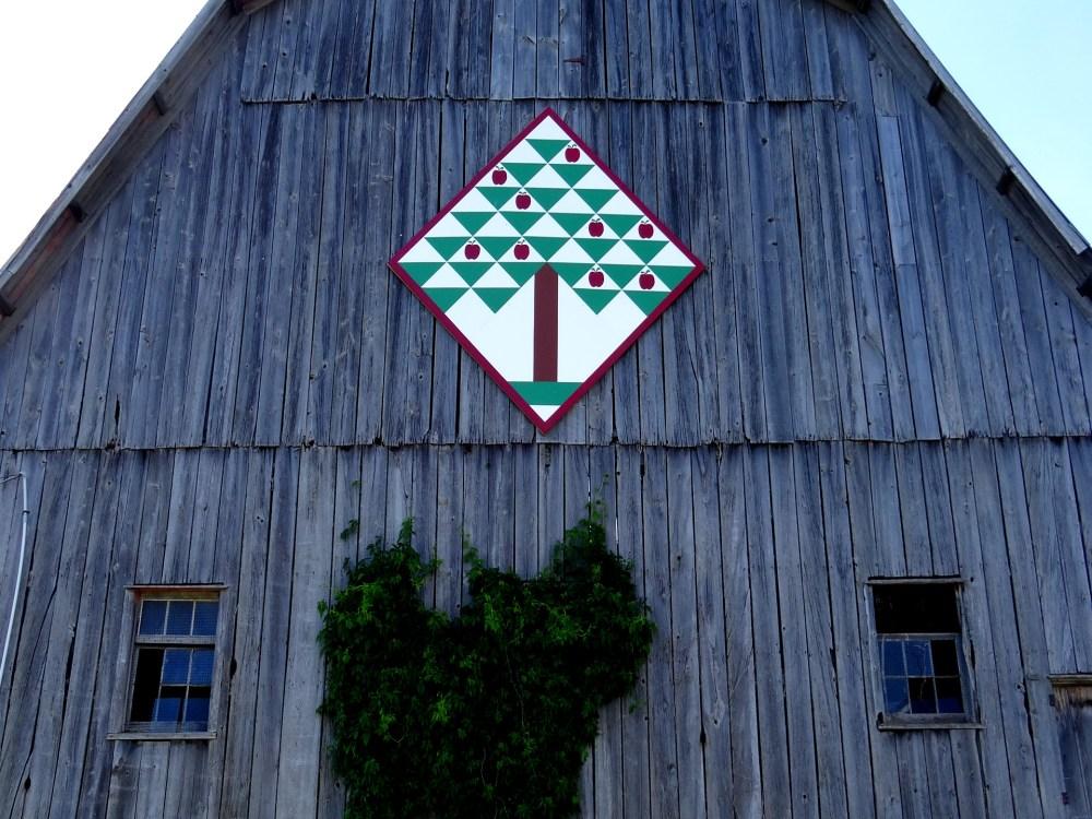 Alt tag: Motif de courtepointe de grange à la County Cider Company
