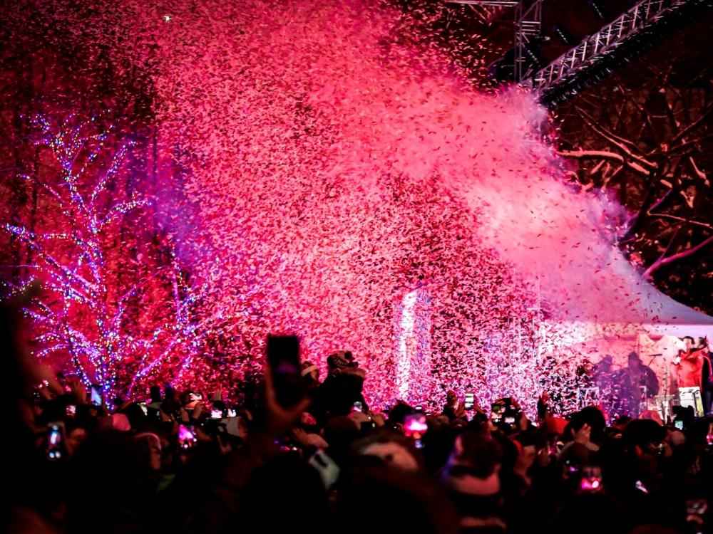 personnes qui célèbrent la veille du jour de l'An avec un concert à Niagara Falls.
