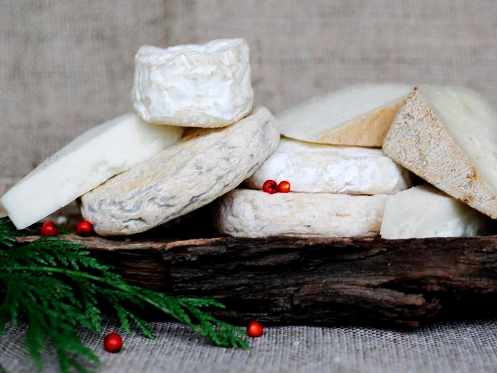 Amoncellement de différents types de fromages sur une planche de bois