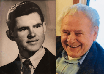 Side by side picture of young and old Louie Szendrei