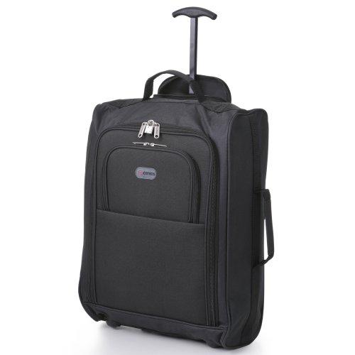 -5-Cities-Bagage--main-lger-de-voyage-fourre-tout--cabine-approuv-Par-Ryanair-Easyjet-et-dautres-16-kg-40-l-avec-roulettes-Cadenas-inclus-Noir-Uni-0