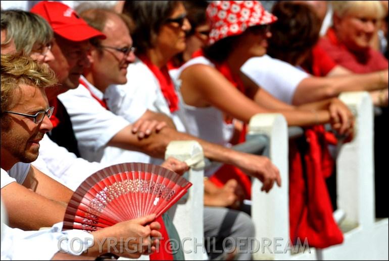 Voyage Pays Basque - Dax ; Corrida à cheval en rouge et blanc 14