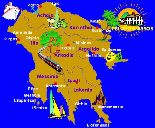 carte du Peloponnese