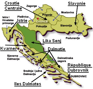 carte des regions de Croatie