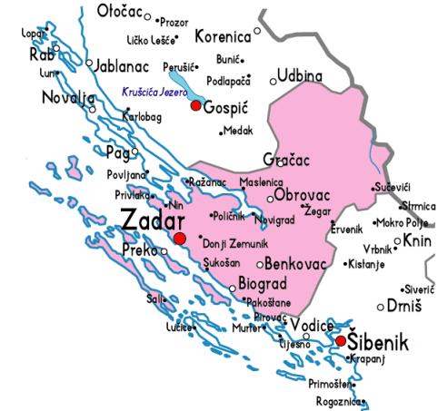 zadar carte region dalmatie nord