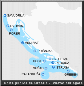 Carte croatie phares