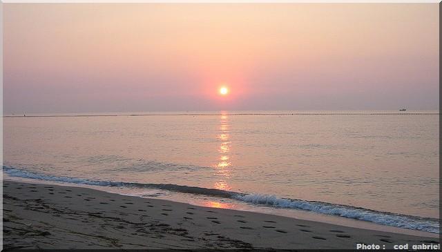 Mer plage coucher de soleil