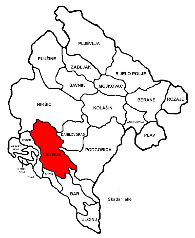 carte montenegro region cetinje