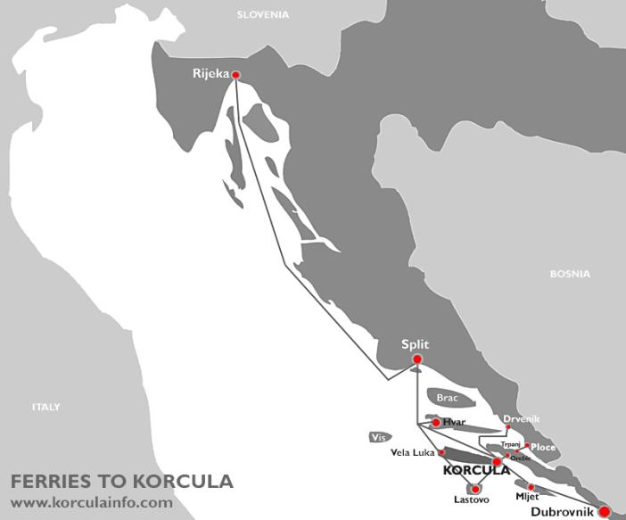 korcula ferries croatie