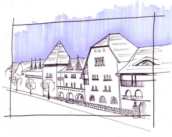 Bâtiments conçus par Karoly Kos qui entourent la place centrale de Wekerle