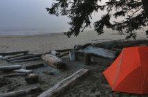 camping sauvage dormir sous la tente sur une plage
