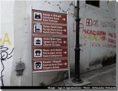 skopje panneaux touristiques et tags