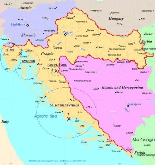 Carte de Croatie identification de la Dalmatie