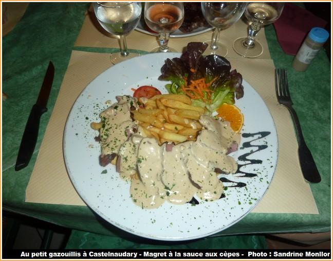 restaurant le petit gazouillis castelnaudary magret sauce aux cepes