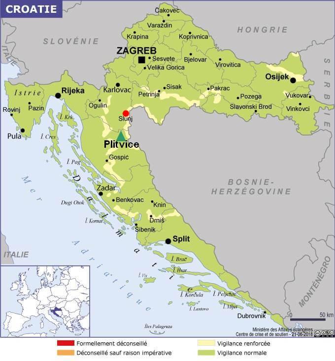 carte croatie slunj plitvice