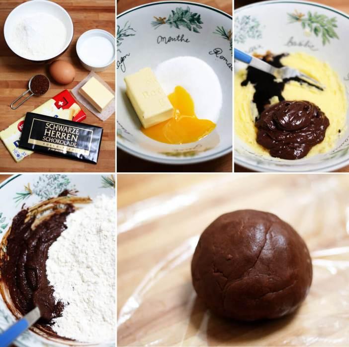 étapes de la préparation des platzchen choco moka