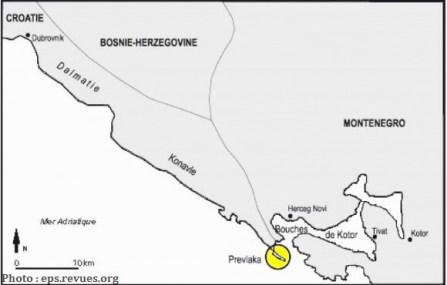 localisation frontière Croatie Montenegro