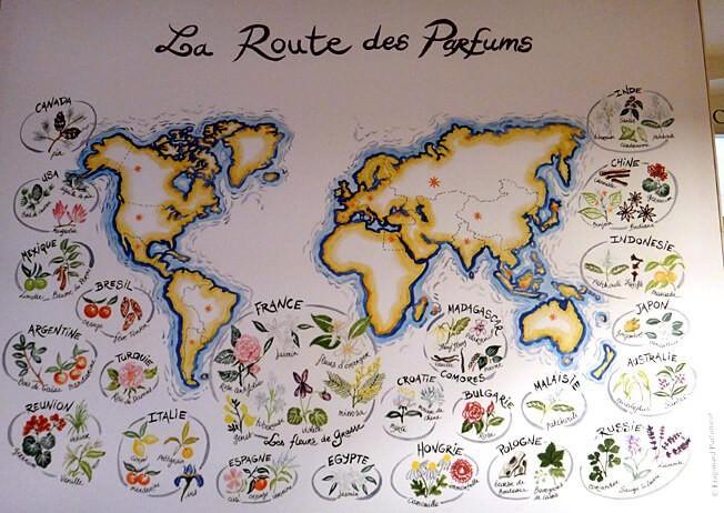 Carte route des parfums du monde