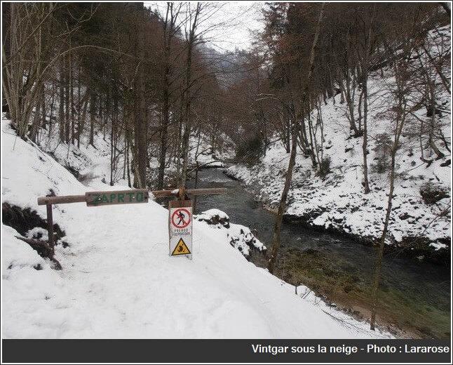 Gorges Vintgar en hiver accès interdit