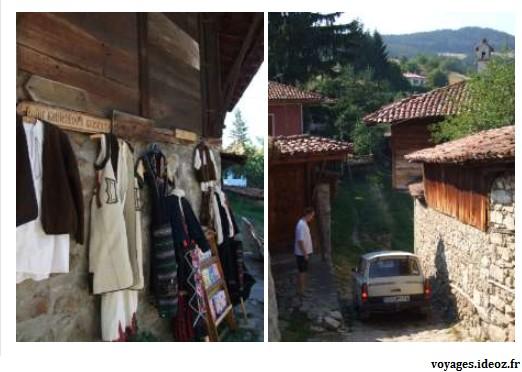 Vieille trabant et vente de costumes bulgares traditionnels