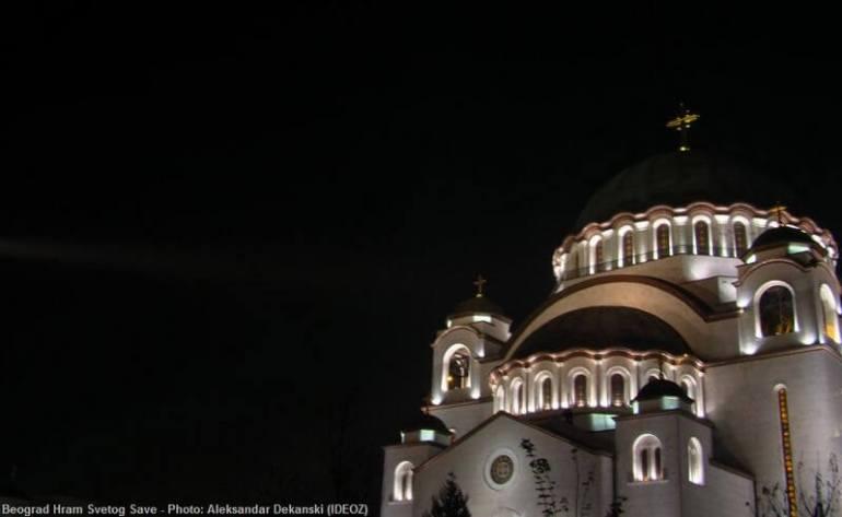 Belgrade de nuit église saint sava