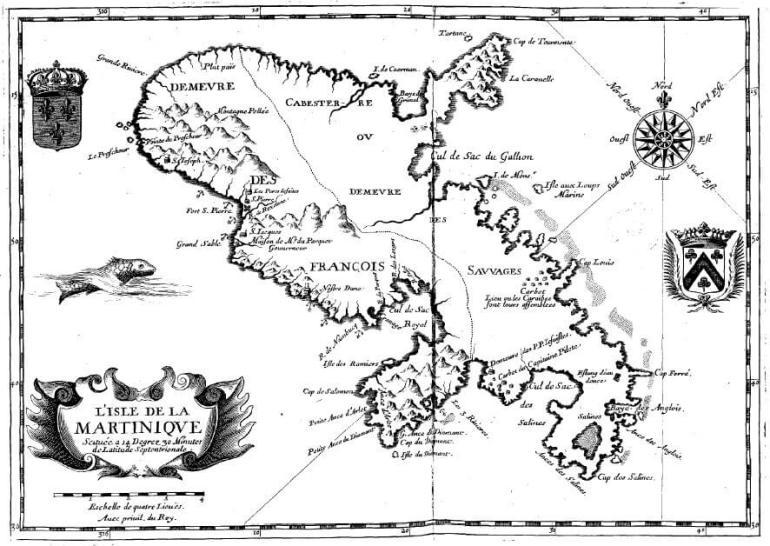 Carte de la Martinique Du Tertre 1654