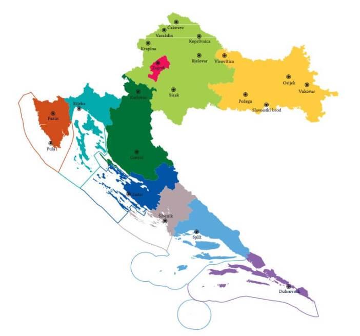 carte de la croatie avec les villes et régions touristiques