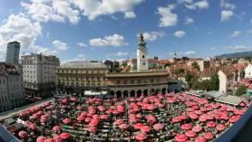 Marché de Dolac Zagreb vu d'en haut