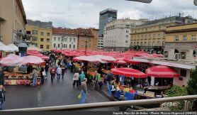 Zagreb marché de Domac et parasols rouges des vendeurs