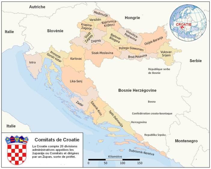 carte croatie comitats zupinja