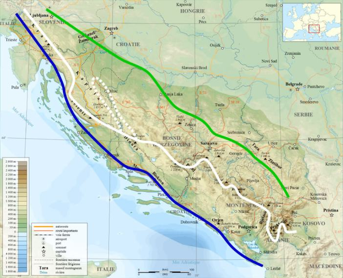 Via Dinarica map blue white and green trail