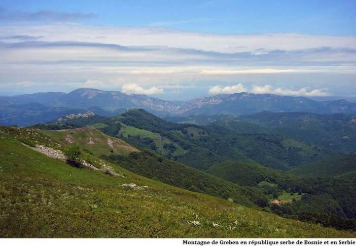 Montagne de Greben en république serbe de Bosnie et en Serbie