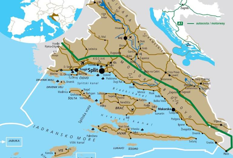 carte de dalmatie centrale région de Split