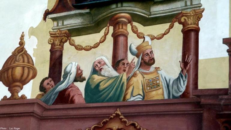 Lüftlmalerei scène de la condamnation du christ à Oberammergau