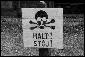 Camp d'Auschwitz Birkenau panneaux de tête de mort