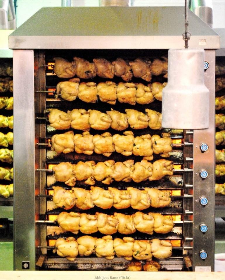 Rotissoires pour préparer le hendl poulet roti d'Oktoberfest