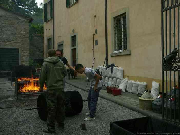 Bruciate cuisson des marrons à Marradi