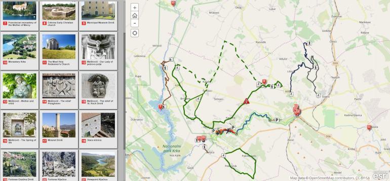 carte sites culturels dans les environs du parc Krka