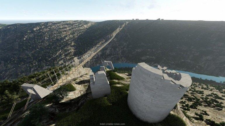 pont suspendu sur le canyon de krka