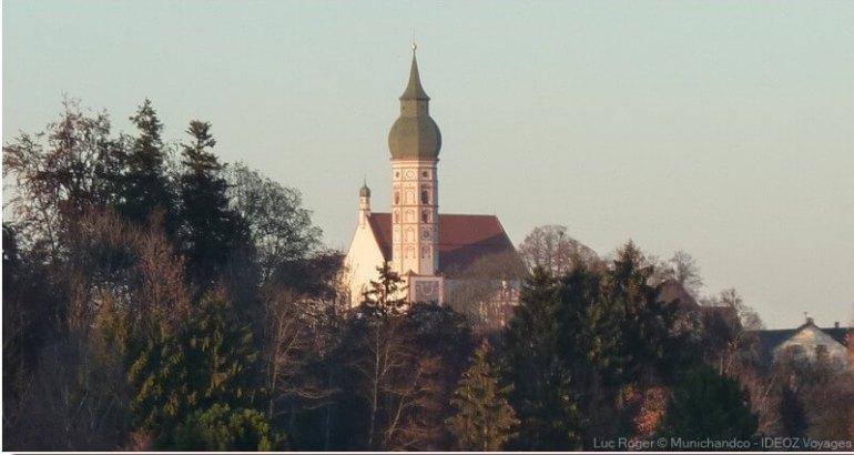 clocher de l'abbaye d'andechs près de Munich