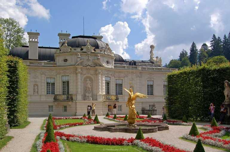 château de linderhof et jardins à la française