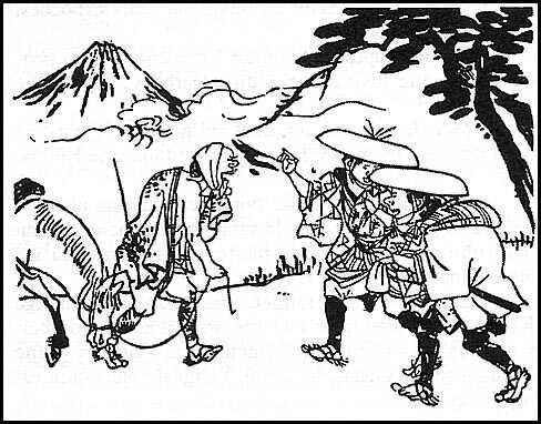 Jippensha Ikku gravure sur bois de pélerins japonais de la période edo