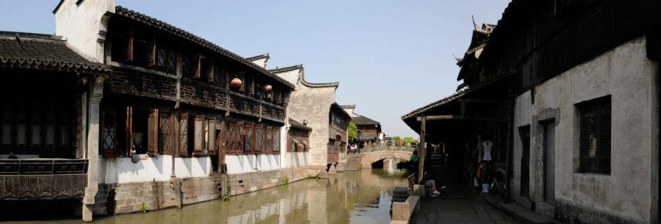 Panoramique sur la vieille ville de Wuzhen, Zhejiang, Chine