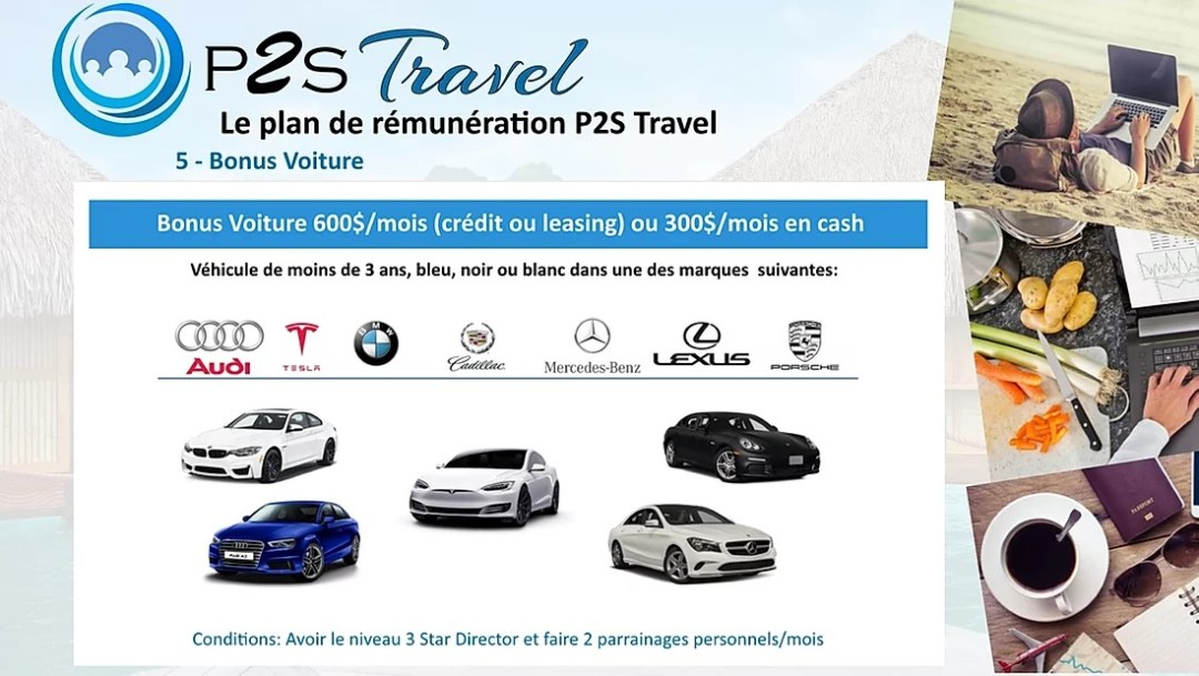 bonus voiture p2s travel