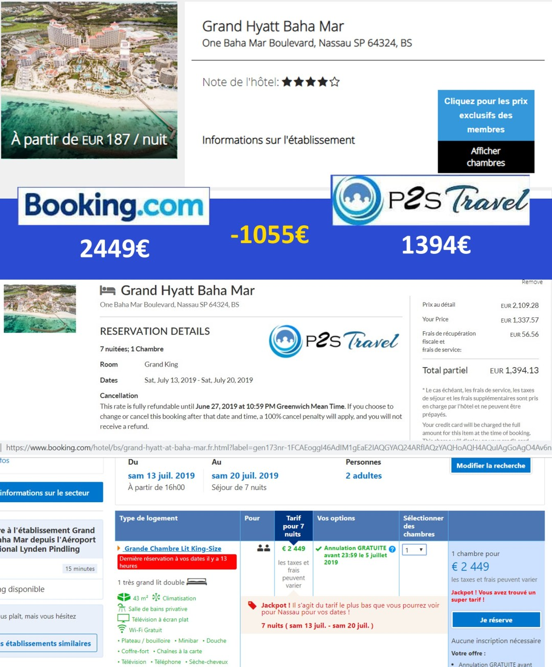 exemple comparatif tarif entre p2s travel et booking