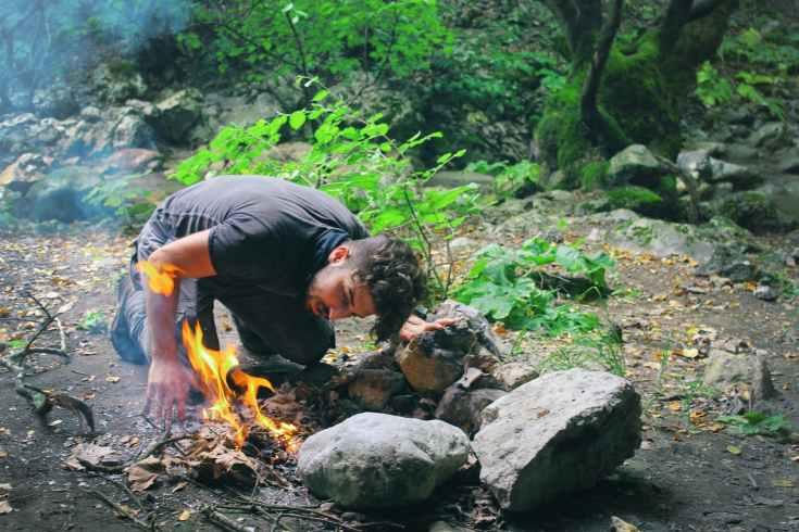 adventure camping daylight fire