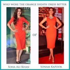 Who Wore the Orange Sheath Dress Better ?