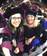 Dr. Hruschka was in Bangladesh so I was hooded by the amazing Dr. Jehn!