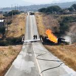 Explota pipa con gas en carretera de Pedro Escobedo